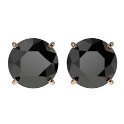 3.70 CTW Fancy Black VS Diamond Solitaire Stud Earrings 10K Rose Gold - REF-74T5M - 36704