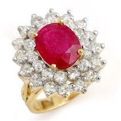 8.0 CTW Ruby & Diamond Ring 14K Yellow Gold - REF-252H8A - 13270
