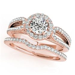 1.11 CTW Certified VS/SI Diamond 2Pc Wedding Set Solitaire Halo 14K Rose Gold - REF-144Y2K - 30871