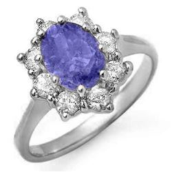 2.75 CTW Tanzanite & Diamond Ring 18K White Gold - REF-97F6N - 13424