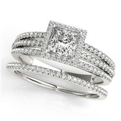 1.3 CTW Certified VS/SI Princess Diamond 2Pc Set Solitaire Halo 14K White Gold - REF-242W9F - 31385