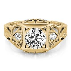 0.6 CTW Certified VS/SI Diamond Solitaire Antique Ring 18K Yellow Gold - REF-132W2F - 27239