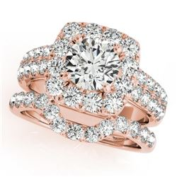 2.76 CTW Certified VS/SI Diamond 2Pc Wedding Set Solitaire Halo 14K Rose Gold - REF-469F8N - 30892