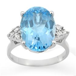 6.20 CTW Blue Topaz & Diamond Ring 10K White Gold - REF-32A9X - 12856