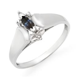 0.33 CTW Blue Sapphire & Diamond Ring 10K White Gold - REF-13W6F - 12551