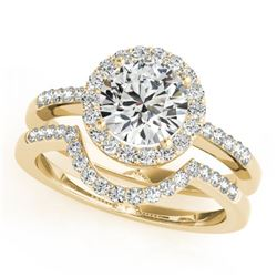 0.67 CTW Certified VS/SI Diamond 2Pc Wedding Set Solitaire Halo 14K Yellow Gold - REF-81K6W - 30770