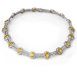 55.5 CTW Yellow Sapphire & Diamond Necklace 14K White Gold - REF-873W3F - 10022