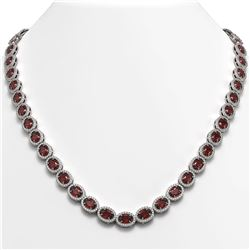 32.82 CTW Garnet & Diamond Halo Necklace 10K White Gold - REF-501F3N - 40445