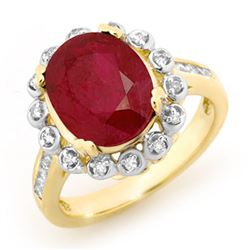 5.83 CTW Ruby & Diamond Ring 10K Yellow Gold - REF-81X8T - 13438