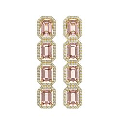 10.73 CTW Morganite & Diamond Halo Earrings 10K Yellow Gold - REF-272X5T - 41440