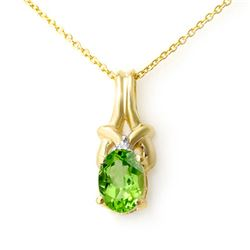 0.87 CTW Peridot & Diamond Pendant 10K Yellow Gold - REF-9X3T - 12786