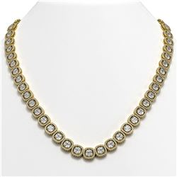 37.60 CTW Cushion Diamond Designer Necklace 18K Yellow Gold - REF-6959X6T - 42715