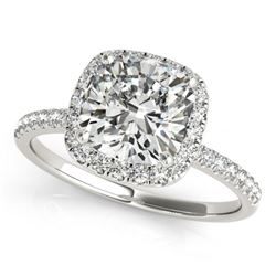1.08 CTW Certified VS/SI Cushion Diamond Solitaire Halo Ring 18K White Gold - REF-227Y8K - 27207