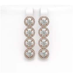6.14 CTW Diamond Designer Earrings 18K Rose Gold - REF-969H8A - 42675