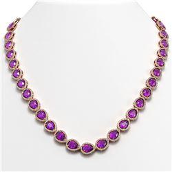 35.13 CTW Amethyst & Diamond Halo Necklace 10K Rose Gold - REF-586T9M - 41082