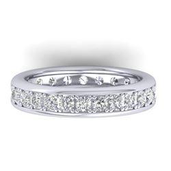 1.33 CTW Certified VS/SI Diamond Eternity Band Men's 14K White Gold - REF-127T6M - 30330