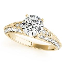 1.08 CTW Certified VS/SI Diamond Solitaire Antique Ring 18K Yellow Gold - REF-127A3X - 27257