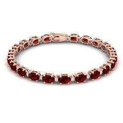 25.8 CTW Garnet & VS/SI Certified Diamond Eternity Bracelet 10K Rose Gold - REF-119N3Y - 29453