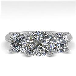 2.0 CTW Cushion Cut VS/SI Diamond 3 Stone Designer Ring 14K White Gold - REF-395A8X - 38503