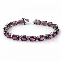 22.60 CTW Amethyst Bracelet 10K White Gold - REF-57Y6K - 14218