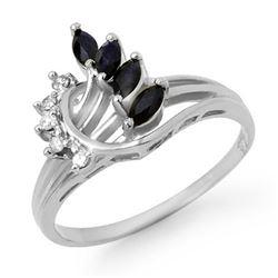 0.55 CTW Blue Sapphire & Diamond Ring 14K White Gold - REF-24K8W - 12869