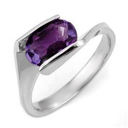 2.0 CTW Amethyst Ring 10K White Gold - REF-20T9M - 11184