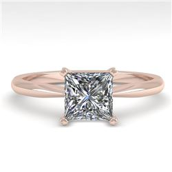 1.01 CTW Princess Cut VS/SI Diamond Engagement Designer Ring 14K Rose Gold - REF-297Y2K - 32165
