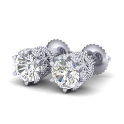 2.04 CTW VS/SI Diamond Solitaire Art Deco Stud Earrings 18K White Gold - REF-361K8W - 37241