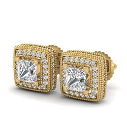 2.01 CTW Princess VS/SI Diamond Art Deco Stud Earrings 18K Yellow Gold - REF-245Y5K - 37129