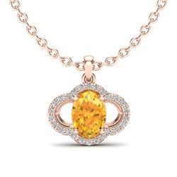 1.75 CTW Citrine & Micro Pave VS/SI Diamond Necklace 10K Rose Gold - REF-29W5F - 20627