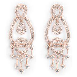 2.0 CTW Certified VS/SI Diamond Earrings 14K Rose Gold - REF-178Y2K - 10180
