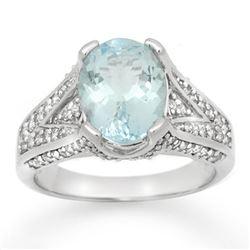 3.95 CTW Aquamarine & Diamond Ring 14K White Gold - REF-100K5W - 14507