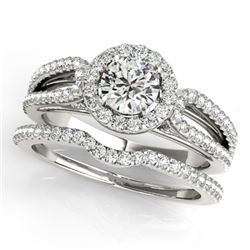 1.11 CTW Certified VS/SI Diamond 2Pc Wedding Set Solitaire Halo 14K White Gold - REF-144T2M - 30870