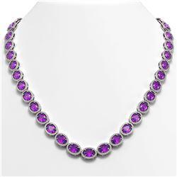 45.16 CTW Amethyst & Diamond Halo Necklace 10K White Gold - REF-560Y2K - 40592