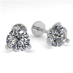 0.52 CTW Certified VS/SI Diamond Stud Earrings Martini 14K White Gold - REF-44T4M - 30565