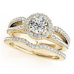 0.96 CTW Certified VS/SI Diamond 2Pc Wedding Set Solitaire Halo 14K Yellow Gold - REF-105N3Y - 30869