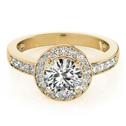 2 CTW Certified VS/SI Diamond Solitaire Halo Ring 18K Yellow Gold - REF-599K6W - 26975