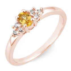 0.44 CTW Yellow Sapphire & Diamond Ring 10K Rose Gold - REF-19H3A - 11579