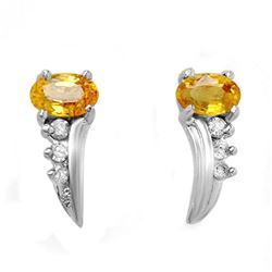 0.80 CTW Yellow Sapphire & Diamond Earrings 14K White Gold - REF-19T3M - 13917
