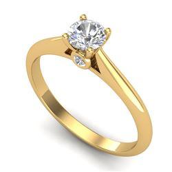 0.4 CTW VS/SI Diamond Solitaire Art Deco Ring 18K Yellow Gold - REF-58K2W - 37279