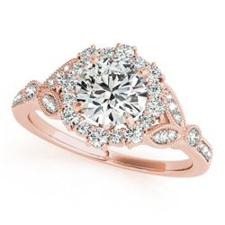 1.25 CTW Certified VS/SI Diamond Solitaire Halo Ring 18K Rose Gold - REF-212Y8K - 26534