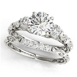 0.89 CTW Certified VS/SI Diamond 3 Stone 2Pc Wedding Set 14K White Gold - REF-119W8F - 32048