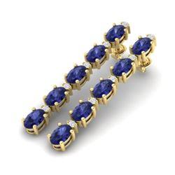 15.47 CTW Tanzanite & VS/SI Certified Diamond Tennis Earrings 10K Yellow Gold - REF-189F3N - 29493