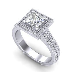 2 CTW Princess VS/SI Diamond Solitaire Micro Pave Ring 18K White Gold - REF-472F8N - 37181