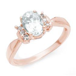 1.06 CTW Aquamarine & Diamond Ring 14K Rose Gold - REF-30F9N - 14402