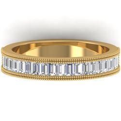 1 CTW Baguette VS/SI Diamond Art Deco Eternity Band 14K Yellow Gold - REF-107A3X - 30317