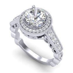 1.91 CTW VS/SI Diamond Art Deco Ring 18K White Gold - REF-543H6A - 36974