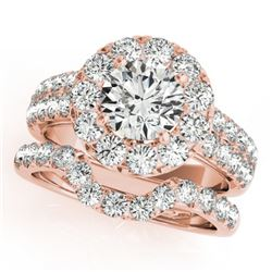 2.06 CTW Certified VS/SI Diamond 2Pc Wedding Set Solitaire Halo 14K Rose Gold - REF-197Y8K - 30883
