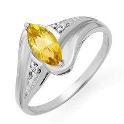 0.36 CTW Citrine & Diamond Ring 10K White Gold - REF-13A6X - 12290