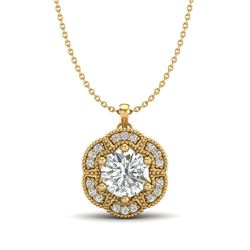 1.01 CTW VS/SI Diamond Solitaire Art Deco Necklace 18K Yellow Gold - REF-245H5A - 37111